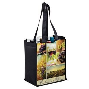 "Full Coverage PET Non-Woven Sublimated 6 Bottle Wine Tote Bag (10""x7""x12"") – Sublimation"