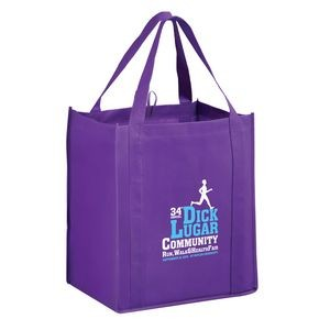 "Heavy Duty Non-Woven Grocery Tote Bag w/ Insert (13""x10""x15"") - Screen Print"