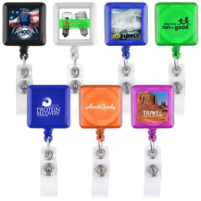 Square Shaped Retractable Badge Holder (Direct Import - 8-10 Weeks Ocean)