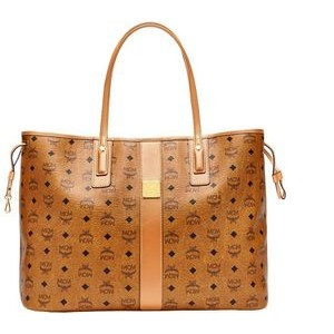 MCM Cognac Brown Large Reversible Liz Shopper