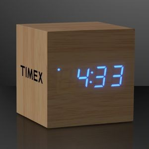 Blue LED Cube Alarm Clock With USB - Domestic Print