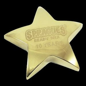 "4"" x 4"" Gold Metal Star Paperweight"