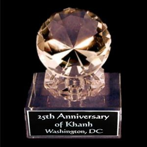 "Solid Crystal Engraved Paperweight - 4 1/2"" Large - Clear Diamond"