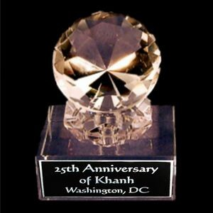 "Solid Crystal Engraved Award - 4"" Medium - Clear Diamond"